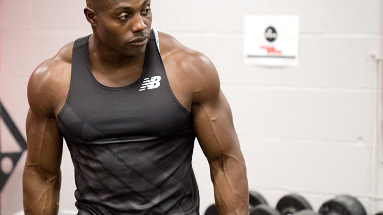 Harry Aikines Aryeetey, GB Olympic sprinter and ambassador of The Gymbook. Here Harry tests out a workout from his Get Explosive 10 week fitness plan.