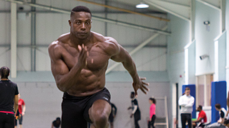Harry Aikines Aryeetey, GB Olympic sprinter and ambassador of The Gymbook. Here Harry is photographed training for the Tokyo 2020 Olympics.